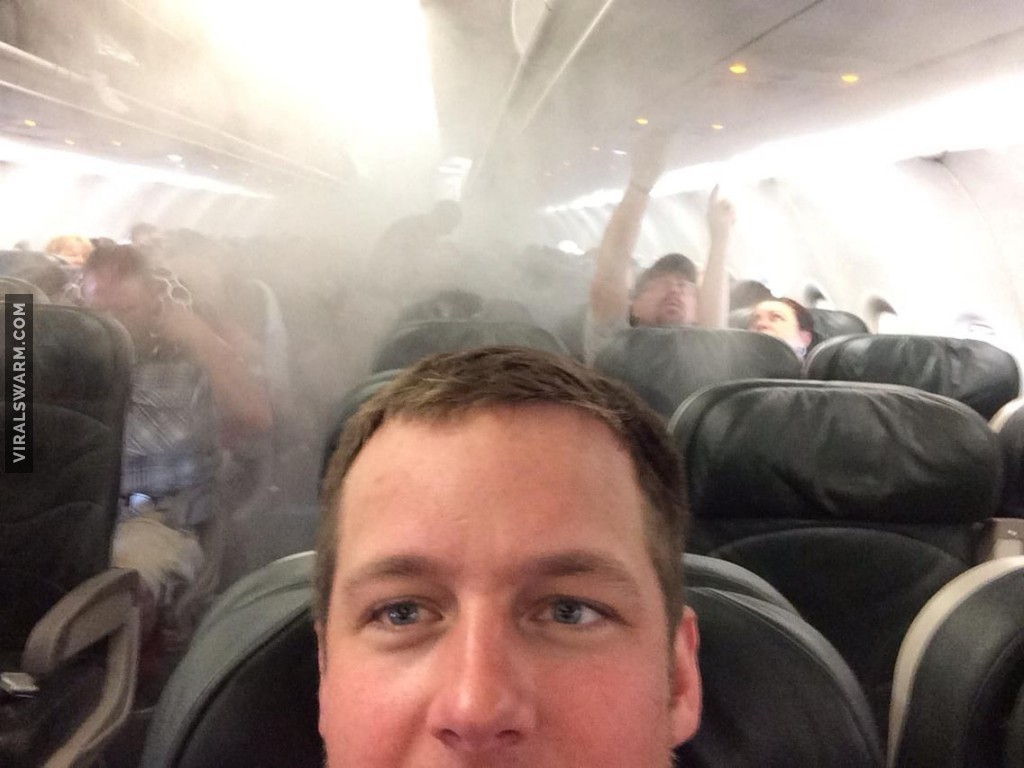 plane on fire selfie