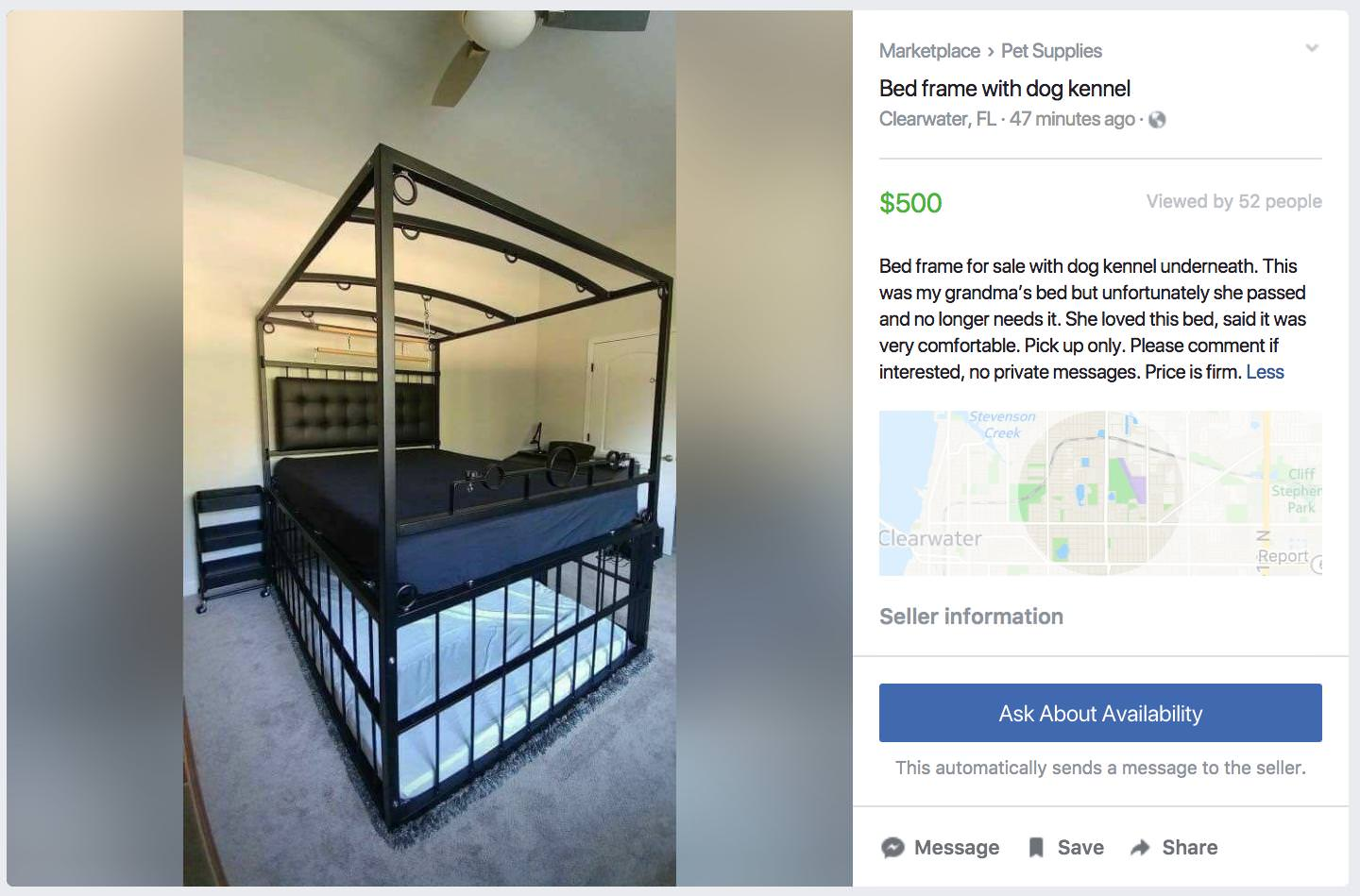 Facebook Marketplace Seller Doesn T Realize Bed Frame With Dog