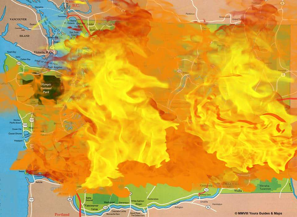 Updated map of Washington State fires   ViralSwarm.com