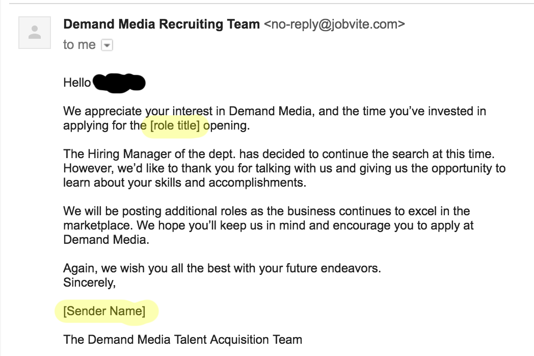 Iu0027m Getting Used To The Generic Job Rejection Emailu2026 But This Is Just Lazy.  Email After Job Rejection